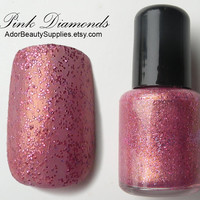 Pink Diamonds Nail Polish 8 ml Vegan by AdorBeautySupplies on Etsy