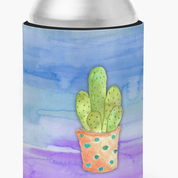 Cactus Blue and Purple Watercolor Can or Bottle Hugger BB7363CC