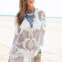 White Crochet Long Sleeve Tunic Bikini Cover-up