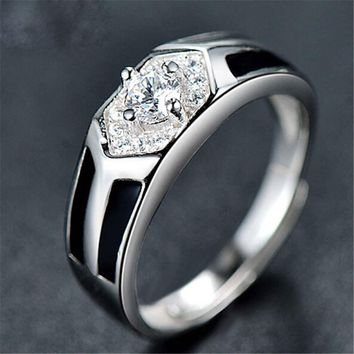 fashion mens unique silver adjustment ring with diamond casual jewelry best gift rings 71 2