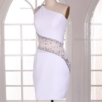White Short Prom Dresses Most Popular Homecoming Satin Bridesmaid Dress Party Dress Evening Dresses With Beaded Rhinestone