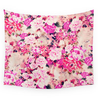 Society6 Elegant Pink Chic Floral Pattern Girly Pe Wall Tapestry