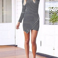 Choies Design Black Long Sleeve Stripe Bodycon Dress - Choies.com