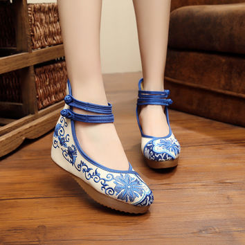 China Women Embroidery 5cm Pumps Shoes Chinese Style Mary Janes Inside Increased Soft Sole Cloth Shoes SMYXHX-10017