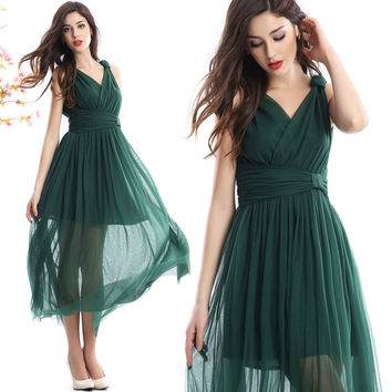 Sleeveless Pleated Sheer Dress