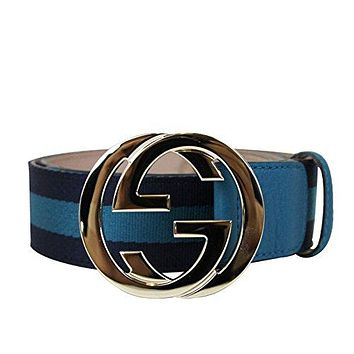 Gucci Women's Blue Webbing Interlocking G Buckle Belt 114876 4174