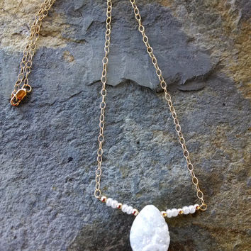 White druzy pendant with gold filled beads and chain, statement necklace, druzy necklace,