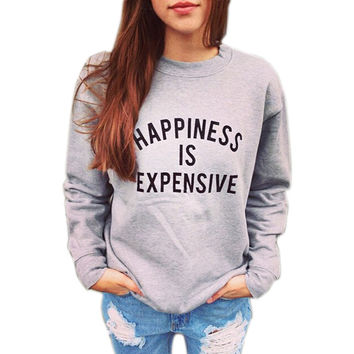 Women's Grey Happiness IS Expensive Letters Printed Tracksuits  Femme Harajuku Casual Pullover Sweatshirt Sudaderas Mujer