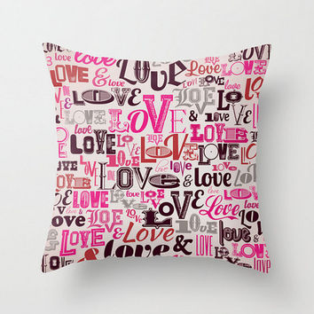 Pillow Cover Love Pink Retro Vintage Valentine Love Gift Words Fonts Script Type Rose Case Cushion Unique