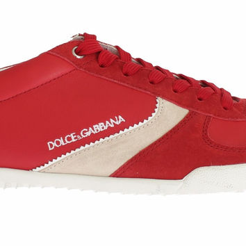 Dolce & Gabbana Red Leather Mens Casual Sneakers