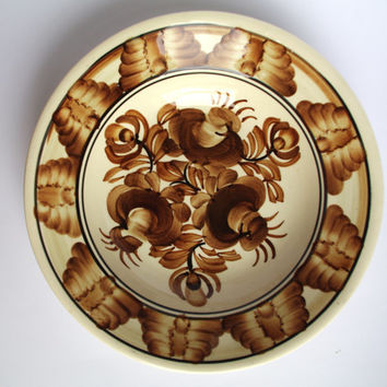 Vintage white and brown plate / Polish pottery Polish Ceramics / Hand Painted Flowery Flower Kolo 70's Made in Poland Wall dish wall hanging