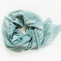 Hand dyed and stamped oversized, lightweight scarf. Olive. Light olive green color.