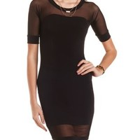 Mesh Cut-Out Bodycon Dress by Charlotte Russe