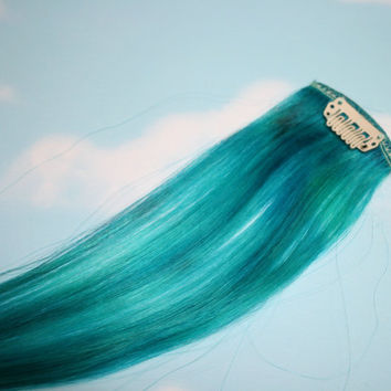 Turquoise, Human Hair Extensions, Colored Hair Extension Clip, Hair Wefts, Clip in Hair, Tie Dye Hair Extensions
