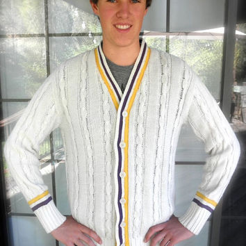 60s White Mens Cardigan // Yellow and Purple School Spirit // Cable Knit Wilson Sporting Goods