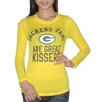 Pink Victoria`s Secret Womens NFL Green Bay Packers Slim Fit Long Sleeve T Shirt / Tee - Yellow (Size: S): Clothing