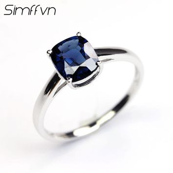Simffvn Solitaire 18K White Gold Round Cut 1.15CT Blue Spinel  Anniversary Wedding Gemstone Ring For Women  Fine Jewelry