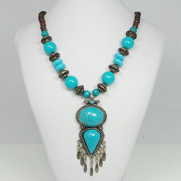 Natural Blue Turquoise Jade Beads Tassel Antiqued Gold Necklace Jewelry, Unique Vintage Style Oval Drop Necklace Pendant-118732013