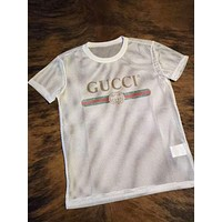 GUCCI Trending Stylish Ladies Men Casual Letter Print Net Yarn Short Sleeve Round Collar T-Shirt Pullover Top White I-CN-CFPFGYS