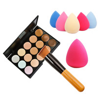Free Shipping 15 Color Concealer Palette+Wooden Handle Brush+Teardrop-shaped Puff Makeup Base Foundation Concealers Face Powder