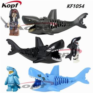 Single Sale Ghost Zombie Black Shark Jack Sparrow Pirates of the Caribbean Super Heroes Building Blocks Toys for children KF1054