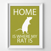 "8x10"" Rat Wall Art, Pet Rat gift, Rat Decor, Rat Lover, Rat Christmas Gift, Pet Rat Art, Rat Present, Rat Birthday, Cute Rat Gift, Rat Love"