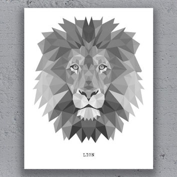Lion Printable Poster GeometricTypography Print Black White Wildlife Polygon Animal Art Retro Art Print Instant Download Digital Print