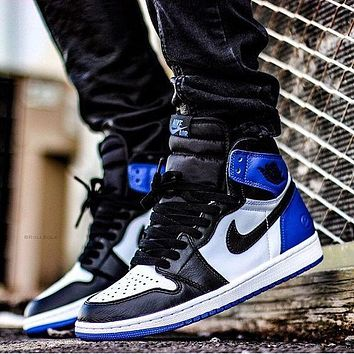 Nike Air Jordan Retro 1 High Tops Contrast Sports shoes Blue Black G-CSXY