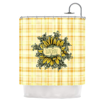 "Nick Atkinson ""Sunflower Sunshine"" Yellow Gold Shower Curtain"