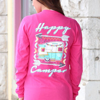 Happy Camper Trailer Long Sleeve Tee {Hot Pink}