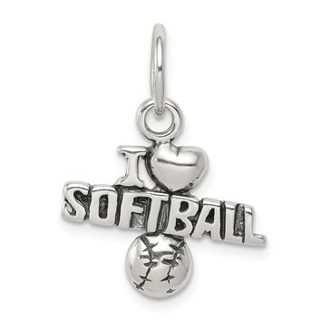925 Sterling Silver Antique I (heart) Softball Charm and Pendant