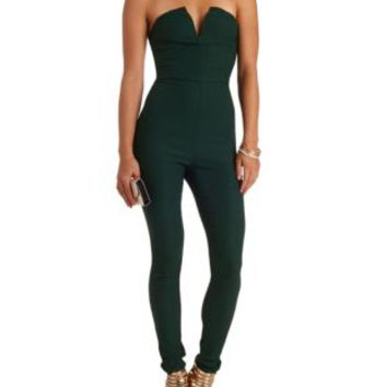 Deep V High-Waisted Skinny Strapless Jumpsuit - Forest Green