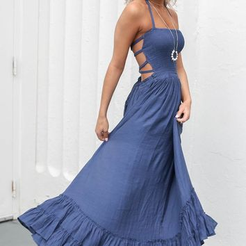 Chasing A Feeling Navy Maxi Dress - Amazing Lace