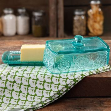 The Pioneer Woman Adeline Teal Butter Dish - Walmart.com