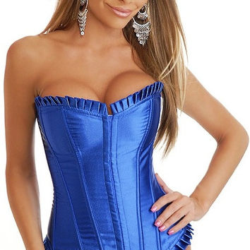 Blue Satin Strapless Corset with Lace Decor