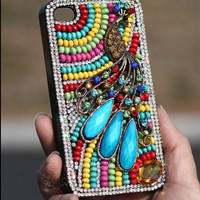 Colorful beads with Peacock Bohe style iPhone 5 Cases iPhone 4 Case iPhone 4s Case iPhone Cases Samsung Galaxy S3 cases HTC phone case