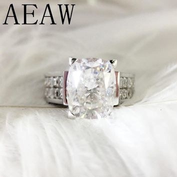 AEAW 4 Carat ct DF Cushion Cut Engagement&Wedding Moissanite Diamond Ring for Women Genuine 14K 585 White Gold (Heaviness Style)
