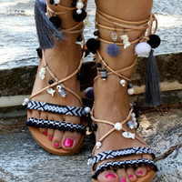 "Pom pom sandals/ Gladiator sandals/ boho sandals/ tie up sandals/ handmade sandals/ leather sandals/ greek sandals/ ""LIBERIAN GIRL"""