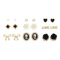 Cameo & Rosette Stud Earrings - 9 Pack by Charlotte Russe - Gold