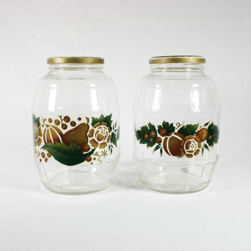 Vintage Hazel Atlas Barrel Jars with Fruit and Flower Decals