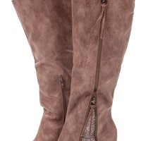 Taupe Overlay Zipper and Lace Detail Boot
