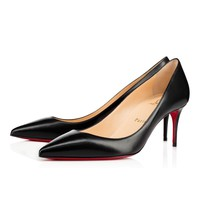Christian Louboutin CL Decollete 554 Black Leather 70mm Stiletto Heel 12w Online