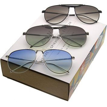 Large Retro Full Metal Tear Drop Crossbar Aviator Sunglasses A213 [3 Pack]