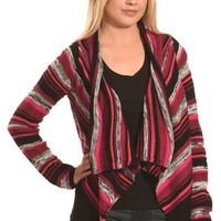 Derek Heart Women's Red and Black Stripe Cozy Cardigan