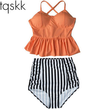 TQSKK 2016 New Bikinis Women High Waist Swimsuit Push Up Bikini Set Swimwear Female Halter Top Beach Wear Bathing Suits Dress XL