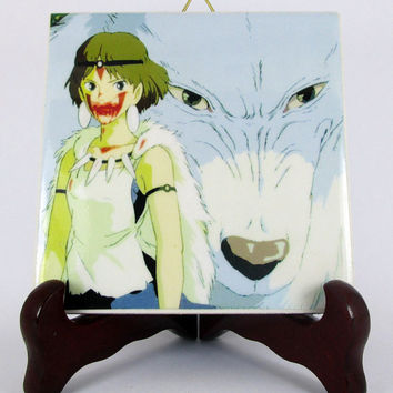 San and the Wolf from Princess Mononoke fan art Ceramic Tile     Studio Ghibli Hayao Miyazaki Anime Manga Japan Mod.1