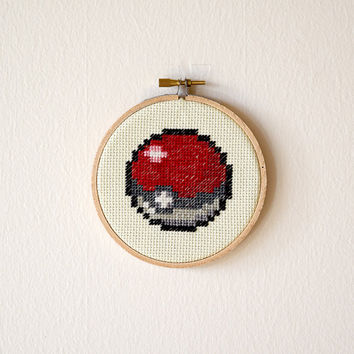 Framed Pokeball Cross Stitch | Pokemon Inspired Framed Needlepoint | Finished 4x4 Video Game Cross Stitch | 4 inch Wooden Embroidery Hoop
