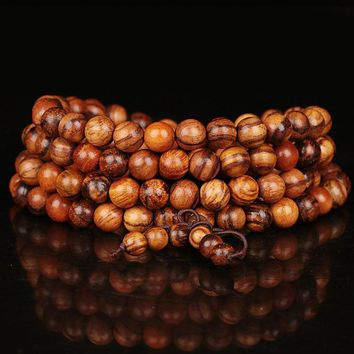 Vintage 6mm 8mm 108 Beads Natural Teak Sandalwood Buddhist Wood Bracelets Meditation Prayer Bead Mala Bracelet Women Men Jewelry