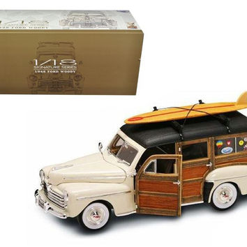 1948 Ford Woody With Wood And Surfboard Cream 1-18 Diecast Model Car by Road Signature