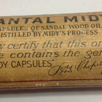 Rare Vintage 1930s Santal-Midy Sandal Wood Capsules Medicine With Contents